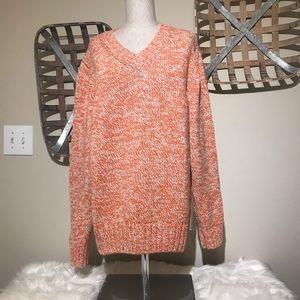 ALTEA Knit Orange/cream v-neck sweater